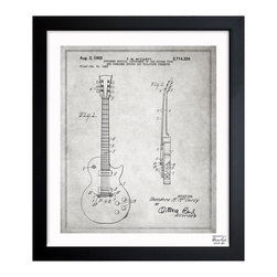 """The Oliver Gal Artist Co. - ''Gibson Les Paul Guitar 1955 Gray' 15""""x18"""" Framed Art - Exclusive blueprints inspired by real vintage patent drawings & illustrations. Handcrafted in the Oliver Gal Artist Co. Studios in Miami, Florida. Produced on matte proofing paper and hand framed by professional framers in a 1.2"""" premium black wood frame. Perfect for any interior design project, gifts, office décor, or to add special value to one of your favorite collections."""