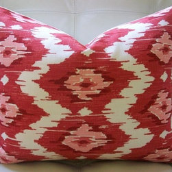 Decorative Designer Pillow Cover Duralee by elegantouch - Oh we are still wild for Ikat patterns, and these yummy shades of pink will warm up the room while the design adds global style.