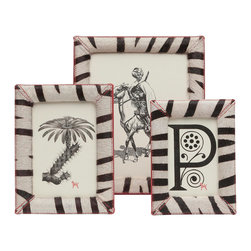 Pigeon & Poodle - Pigeon & Poodle Austin Zebra Photo Frame - Pigeon & Poodle's Austin photo frame delivers modern interiors rustic style. Adorned with detailed stitching, this rectangular accessory offers a faux zebra hair motif. Hair on hide; Canvas-covered sides with coordinating red stitching; Available in three sizes