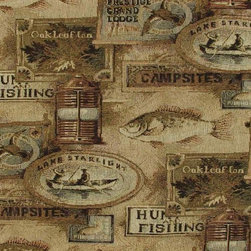 Fishing Lodge Fish Upholstery Fabric - This woven jacquard blend upholstery grade fabric has a fish and fishing theme. It sells by the whole yard only and is cut to order. The fabric details are as follows ...