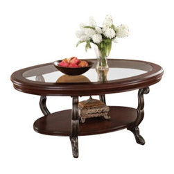 """Acme - Bavol Cherry Finish Wood Oval Shaped Coffee Table with Glass Insert - Bavol cherry finish wood oval shaped coffee table with glass insert and lower shelf. This table features a cherry finish wood with glass insert and carved curvy legs and lower shelves. End table and sofa table available separately. Coffee table measures 48"""" x 32"""" x 21"""" H. Some assembly required."""