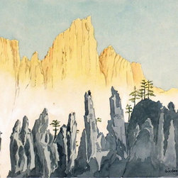 Chinese Landscape, 1973, Painting - Original watercolor painting of a striking landscape in China by artist Hans Oulehla, 1973.