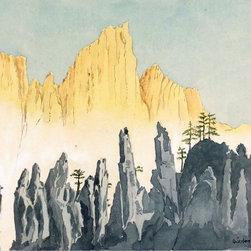 Chinese Landscape, 1973, Painting - Original watercolor painting of a striking landscape in China by artist Hans Oulehla, 1973.