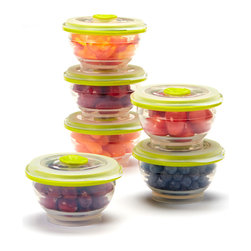 Collapse-It - Collapse-It 1-Cup Food Storage Container - Set of Six - With air-tight lids, this sublime set of 1-cup silicone storage containers keeps small items securely sealed and fully fresh! The collapsible construction saves crucial kitchen space when not in use.   Includes six storage containers and six lids 2.5'' H x 3.75'' diameter Holds 1 cup 100% silicone Toxin-free Freezer-, oven-, microwave- and dishwasher-safe 2-year warranty Imported