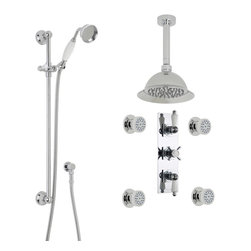"""Hudson Reed - Beaumont Traditional 3 Outlet Shower System Set With 8"""" Rose Head Handset 4 Jets - Enjoy a refreshing showering experience with the Beaumont shower system from Hudson Reed. Perfect for creating a modern look, this shower kit comes complete with the 8"""" shower rose and ceiling arm, four body jets, slide rail kit and the triple thermostatic shower valve. Made in Great Britain, the shower valve provides smooth and accurate control over the flow and temperature of the water. The shower valve features ceramic disc technology, and a built-in anti-scald device for complete peace of mind."""