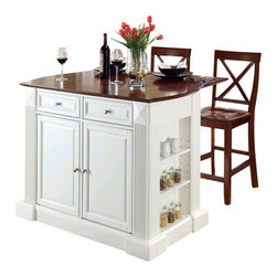 Crosley Furniture - Crosley Coventry Drop Leaf Breakfast Bar Kitchen Island with Stools in White - Crosley Furniture - Kitchen Carts - KF300073WH