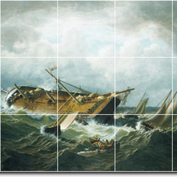 Picture-Tiles, LLC - Shipwreck Off Nantucket Tile Mural By William Bradford - * MURAL SIZE: 24x40 inch tile mural using (15) 8x8 ceramic tiles-satin finish.