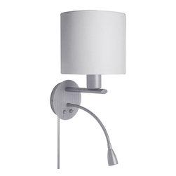 Dainolite - Dainolite Wall Sconce with LED Reading Lamp - Wall Sconce with LED Reading Lamp, Satin Chrome, White Fabric Shade