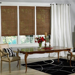None - Victoria Hills Collection Bamboo Roman Shade in Natural Finish - Delicate strips of natural bamboo are woven together in this Victoria Hills Roman shade to bring a tropical elegance into your home,while providing the perfect blend of light and privacy.