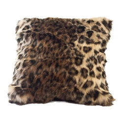 "Posh Pelts - Ocelot Faux Fur Pillow Cover with Rich Black Faux Suede Back - The Ocelot faux fur pillow cover is the perfect companion for any leather or subtly patterned couch, chair or bed linens. It offers a unique alternative to the traditional patterned faux fur, and creates a designer look without drawing attention to itself. Fibers up to 1 ¼ vary in length and color to add dimension and interest to the faux fur. Black, blonde and cinnamon mingle to make this a stunning showpiece. The pillow cover has a rich black faux suede backing with a concealed zipper. PoshPelts faux fur throw blankets that complement the Ocelot pillow cover are: Black Bear and Arctic Fox. Other pillow covers that look nice with the Ocelot are: Arctic Fox. Features: -Pillow cover. -Content: faux fur 80-85% acrylic, 15-20% polyester: faux suede 100% polyester. -Add dimension and interest with matching or coordinating throws and pillow covers. -Faux fur front. -Black faux suede back. -Concealed zipper. -Fits standard 16"" x 16"" insert. -Fibers vary up to approximately 1 1/4"" in length. -Superior quality and craftsmanship. -Machine wash cold; no heat dry; dry cleaning recommended. -16"" H x 16"" W, 0.2 lb."