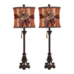 Aspire - Valencia Buffet Lamp - Set of 2 - Set of 2. Truly a unique lamp set with an elegant base and a corresponding shade that features a flower & ribbon tied around the lovely fabric shade, giving the lamps a very romantic, parisian feel. Polystone. Color/Finish: Dark brown. UL listed. Uses 60 watt max bulb. 33 in. H x 11 in. W x 11 in. D. Shade: 11 in. H x 11 in. W x 11 in. D. Weight: 9 lbs.