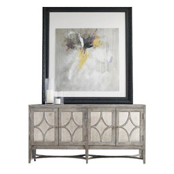 Silver Nest - Diamond Console Cabinet - Aged gray wood trim console cabinet with diamond shaped detailing.