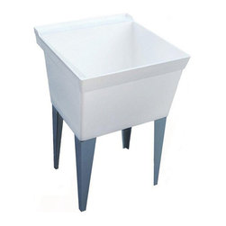 Swanstone - Swanstone MF-4F-001 Single Basin Free Standing Utility Sink - 572550 - Shop for Commercial Laundry and Utility from Hayneedle.com! The simple utilitarian style of the Swanstone MF-4F-001 Single Basin Free Standing Utility Sink makes it a smart addition to your home. This utility sink is made to resist scratches stains and heat from a durable composite material. The single large basin is ready to take on any task and comes in a versatile soft white finish. About SwanstoneA creator and innovator of affordable solid surface products and materials for more than 40 years Swanstone is perhaps most famous for the original Shell Shower Circle Shower and the industry's first non-ceramic bathtub wall. Swanstone is headquartered in St. Louis Missouri but hosts its manufacturing facilities in Centralia Illinois where every Swanstone Veritek and Swan High-Gloss material system is assembled for worldwide distribution. Since 1964 when the Swan Shell Shower was first introduced folks all across the globe have looked to Swanstone for the very best in kitchen and bath products. It's their drive for achieving balance between durability value and innovative styles that have made Swanstone an industry leader and with a policy of continuous improvement and a commitment to giving customers the best warranties in the business this Swan will continue to fly high above the competition.