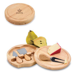 """Picnic Time - New Orleans Saints Brie Cheese Board Set in Natural Wood - The Brie cheese board set is the perfect sized accessory for a small party or get-together. The board is a 7.5"""" swivel-style, split level circular cutting board made or eco-friendly rubberwood that swings open to reveal the cheese tools housed under the board. The three stainless steel cheese tools have rubberwood handles. Tools included are a hard cheese knife, a chisel knife (hard crumbly cheese), and a cheese fork. A carved moat surrounds the perimeter of the board which helps to prevent brine or juice run-off. The Brie makes a delightful gift.; Decoration: Engraved; Includes: 3 Stainless steel cheese utensils (1 hard cheese knife, a chisel knife (hard crumbly cheese), and cheese fork) with wooden handles"""