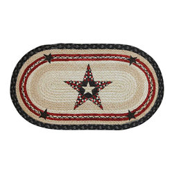 Earth Rugs - 1027 Quilt Patch Star Hand Print Oval Rug 15in.x27in. - Quilt Patch Star Hand Print Oval 15 in. x27 in.
