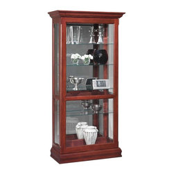 Jasper Cabinets - Sliding Front Door Curio Cabinet w Adjustable - Traditional design elements and a sliding front door make this striking curio cabinet a classic addition to any decor. Ideal for living room or dining room designs, the unit features adjustable glass shelves and a mirrored back to better showcase your family heirlooms. Screwed on wood backs. Mirrored back with glass sides. Doors with locks fitted with wood strips. Halogen touch lights. Floor levelers. Adjustable plate grooved shelves. Hand rubbed stain finished curios. Weighted base stability for opening and closing doors. Made from solid wood and veneers. Assembly required. 16.5 in. W x 38.75 in. L x 78 in. H (178 lbs.)Jasper Cabinet's large selection of curios are made to meet our long standing tradition of excellence.