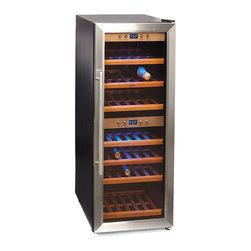Frontgate - WineMaster 38 Wine Refrigerator - Compressor technology that ensures even and accurate temperature and humidity levels in any climate. Individually adjustable dual cooling zones (one WineSafe cooling zone) for white and red wine with storage capacity of 38 bottles. Elegant stainless steel front and double-glass insert. Low-vibration design gives the wine the stability it needs. Active ventilation delivers even temperature per zone. The WineMaster series of wine refrigerators solves all the concerns of storing a finicky bottle of fine wine with a combination of high-tech features and quality manufacturing. With finely tuned temperature controls, active ventilation, multi-layered UV-resistant glass, and a professional grade compressor system, the WineMaster constantly monitors and strictly controls every aspect of the wines' climate so that each and every bottle is guaranteed to retain its unique character, rich aromas and nuances in taste.  . .  .  .  . Insulating glass with UV- filter protects against the degradation of tannins and other flavor and aroma enhancing organic compounds . Excellent thermal insulation for energy-efficient operation . Electronically adjustable temperature from 37 degrees to 72 degrees F . Blue LED displays actual cooling zone temperature . On-demand interior illumination . Easy access, sturdy pullout trays with wooden storage racks . Quiet operation . Can be used freestanding or under counter . 120V .
