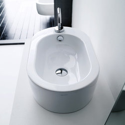 """WS Bath Collections - Flo 22.0"""" x 13.4"""" Vessel Sink - Flo by WS Bath Collections Bathroom Sink 22.0 x 13.4, Vessel (Counter Top) Installation in Ceramic White,  With One Faucet Hole , Made in Italy"""