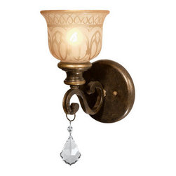 Crystorama Lighting Group - Crystorama Lighting Group 7501 Norwalk 1 Light Crystal Wall Sconce - *Single Light Golden Teak Crystal Draped on a Wrought Iron Wall Sconce Handpainted with an Amber Glass Pattern