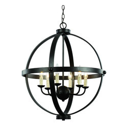 Trans Globe Lighting - 70596 ROB 6 Light Pendant - AdjustableSphere Collection - Middle ages candelabra pendant with spherical influences and bound in bronze bands. Wax drip candle sleeves add ambiance. Open frame makes this fixture perfect over entry way or high ceiling areas. Rustic and captivating.