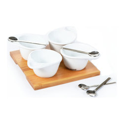 """Concepts Life - Concepts Life Harmony Serving Tray - At Concepts Life we believe that harmony between form, function and style is a necessity, not a perk. No more should the serving spoon stick messily from the dip! Simply, this is the way that condiments and toppings were meant to be served. Set comes with four fine porcelain bowls atop bamboo server, with matching spoons which nestle into each bowl. Great for indoor or outdoor use.  Great for entertaining Set includes: bamboo tray, 4 porcelain condiment bowls, 4 small serving spoons Spoons rest in each bowl so there is no mess! Dimensions: Tray is 7"""" long x 7"""" deep"""
