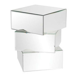 Howard Elliott Chara Stacked Contemporary Mirrored End Table - This fun and contemporary end table features a three-tiered stacking effect.