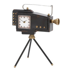 "Benzara - Old World Metal Camera Clock 17""H, 14""W - Made with iron alloy Size: 14""x10""x17"""