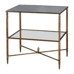 Uttermost - Matthew Williams Hanzler Traditional Lamp Table - Gold leaf finish with heavy antiquing on iron frame with iron cross stretchers. Top is reinforced mirror and gallery shelf is clear tempered glass.