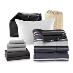 Bed Bath & Beyond Service - Get Started Sebastian 10-Piece Dorm Room Bedding Kit - Get a head start on college in comfort and style with the Sebastian 10-piece bedding kit. It comes with everything you need to create a luxurious bedroom all packed into one reusable storage organizer, including comforter, towels, sheets, and more.