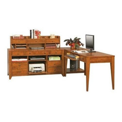 Winners Only - Solutions 60 in. Writing Desk Set in Topaz Ci - Finish: CinnamonTwo drawer desk. Keyboard tray. Corner table with one shelf. Brushed nickel hardware. Traditional style. Desk: 60 in. W x 26 in. D x 30 in. H (112.5 lbs.). Corner Table: 26 in. W x 22 in. D x 30 in. H (51 lbs.)
