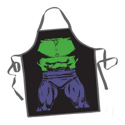Hulk BBQ Apron - Show off your super-strength with the Hulk BBQ Apron. This Incredible Hulk costume apron will bring out the super hero inside of you. The Hulk BBQ Apron is fantastic for outdoor BBQs or even just baking at home. Made from 100% polyester, the Hulk BBQ Apron is an officially licensed BBQ apron and an awesome gift for Hulk fans who love to cook.