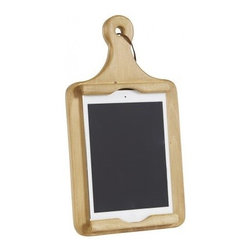"Mini iPad and Cookbook Standing Holder - Resembling a vintage breadboard, with raised lips to hold your mini iPad, this sturdy kitchen helper keeps recipes and other helpful cooking information at your fingertips. Dimensions: 1.7""W x 12.7""H x 7""D"