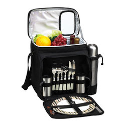 Picnic at Ascot - London Picnic and Coffee Set for Two - Fully equipped picnic & coffee cooler for two. Unique, divided Thermal Shield insulated cooler with separate sections for wine and food. Easy drinks access panel in lid. The cooler is leak proof so may used with ice to extend cooling