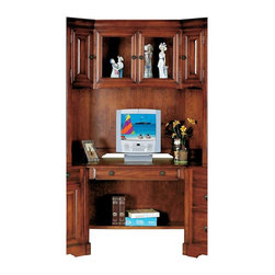 Winners Only - Country Cherry Wedge Desk w Hutch - Includes wedge desk and hutch. One adjustable shelf. Drop front drawer. Made from wood. Cherry finish. Wedge Desk: 65 in. W x 30.5 in. D x 30 in. H (154 lbs.). Hutch: 66 in. W x 24 in. D x 49 in. H (183 lbs.)