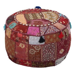 Surya - Patchwork Round Poufs in Two Color Patterns by Surya - 100% cotton fabrics in multiple shades of burgundy or one in a broad spectrum of colors are expertly pieced together forming this Moroccan style round pouf. Coordinating tassels trail along the upper border, while a strand of cream shell-like discs form a decorative internal frame. (SUR)