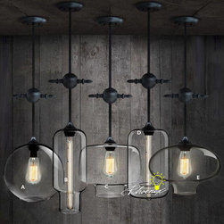 Antique Industrial And Clear Glass Pendant Lighting - Antique Industrial And Clear Glass Pendant Lighting