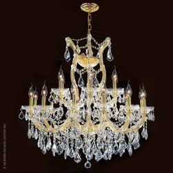 Worldwide Lighting Maria Theresa Chandelier W83005G30 - Worldwide Lighting Maria Theresa Collection 19 light Gold Finish and Clear Crystal Chandelier Two 2 Tier