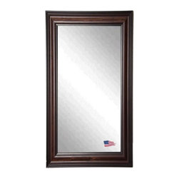 Rayne Mirrors - American Walnut Full Length Mirror - This rectangular tall mirror features a wood frame with a warm dark walnut finish.  Its black undertones make it the perfect choice for both practical use in a bedroom or bathroom or for style in a living room or hallway.  Rayne's American Made standard of quality includes; metal reinforced frame corner  support, both vertical and horizontal hanging hardware installed and a manufacturers warranty.