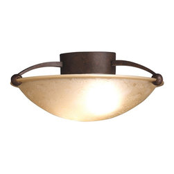 """KICHLER - KICHLER 8405TZ Contemporary Semi Flush Mount Ceiling Light - For a simple, modern profile in your home, this semi-flush fixture is an ideal selection for any room. With its 15"""" diameter, Tannery Bronze finish and Etched Sunset Glass, the fixture's 2-light, futuristic design uses 75-watt (max.) bulbs for everyday lighting capabilities."""