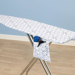"""Home Decorators Collection - Magic Rings Ironing Board Cover and Pad - Ironing doesn't have to be such a chore when you have a functional cover and pad for your ironing board. Our blue and white cotton cover features a hidden storage pocket, a tailored nose and bungee cord binding for a snug fit. Includes a thick fiber pad. Economically friendly, stain and scorch resistant and repels dirt and water due to its Nanomax™ technology. Three-year guarantee. Fits standard size 53-54""""W x 13-15""""D ironing board tops."""