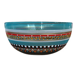 """Golden Hill Studio - Mosaic Carnival 11"""" Bowl - Super Bowl. This incredibly handsome hand-painted bowl really should be in the starting lineup for your table decor. For one thing, it's the perfect size for serving everything from salad to savory dishes to sweets after the meal. For another, no matter what position it occupies on your table, it will always score major design points."""