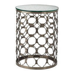 Naomi End Table - Our Naomi Coffee and End Tables are inspired by the Art Deco period; our artisans, however, constructed these pieces to be functional for you in your home, as well as glamorous�think old Hollywood�and somewhat contemporary. Handcrafted in India where artisans are the most skilled in metal working, especially brass, Naomi is the epitome of fine art and sculpture. The adjustable end table has been finished with an antiqued mirrored top. And its telescoping base adds to this end piece�s overall functionality�use it is as a cocktail table or plant stand.