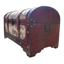 World Map Decorative Wooden Storage Trunk - This is a great way to have decoration and storage in a room. This trunk has an antique map motif that gives it a traveled look. I enjoy having multifunctional pieces.