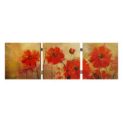 Yosemite - Yosemite FC2338T-1 Red Dandelions Wall Art - Yosemite FC2338T-1 Red Dandelions Wall ArtBlooming Red is amazing hand painted decorative art, with a fresh abstract approach to botanical art. The overall texture of the painting is soothing, and its fiery red and orange background truly brings out the beautiful flower that is painted at the top/center of the canvas. The flower itself is a creamy white that blends into a gorgeous soft yellow, adding a calming feeling to the work. This piece is classy and will bring true serenity to any room.Yosemite FC2338T-1 Features: