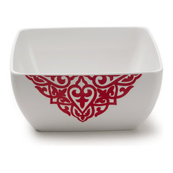 Q Squared NYC - Diamond Red Serving Bowl - Diamond Red dazzles with its rich color and classic design.
