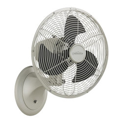 fanimation - Fanimation Portbrook Wall/Table Fan (Wall Mounted Fan) Model FP7948SN - Shown in picture: Fanimation Portbrook Wall/Table Fan (Wall Mounted Fan) Model FP7948SN in Satin Nickel. finished blades are included as shown. Comes with 3-Speed rotary switch with off position.