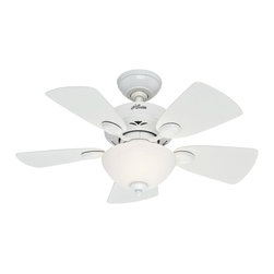 "Hunter - Hunter 52089 Watson 34"" White Ceiling Fan w/ 5 Snow White/ Bleached Oak Blades - Don't let its small blade span fool you, the Watson ceiling fan packs a punch! It combines a powerful Whisper Wind motor with an updated classic design, making it the perfect choice for small spaces."