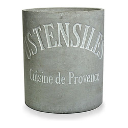 Stone Cement Utensils Croc - The charm of a French inscription on a countertop essential is usually reserved for bright, traditional kitchen accessories, but the Stone Cement Utensils Crock brings that on-trend motif to a more transitional and eclectic piece.  This cylindrical grey vessel offers a sense of weight and permanence next to the stove, especially on a stone countertop.
