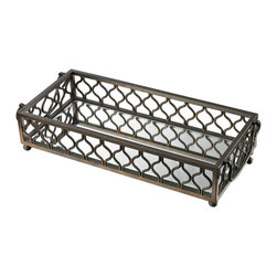 Sterling - Sterling 114-93 Metal Frame Mirrored Tray - Sterling 114-93 Metal Frame Mirrored Tray