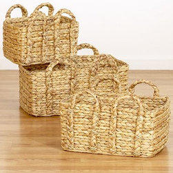 Keira Braided Handle Baskets - These are some of my all-time favorite baskets. They are so good looking, and the handles are pretty functional. I have two in my house: one at the base of my stairs to put shoes in and the other to hold magazines. They'd be great for kids toys, too.